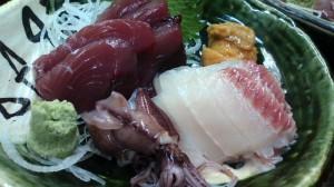 今日のお刺身 かつお ホタルイカ 太刀魚 うにはサービス