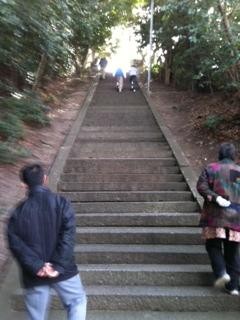 置いてきぼり、 高宮神社の階段